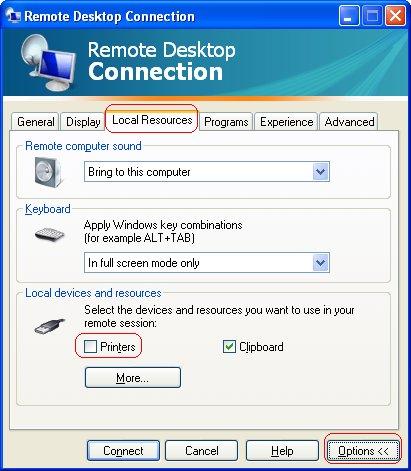 remote desktop printing issues